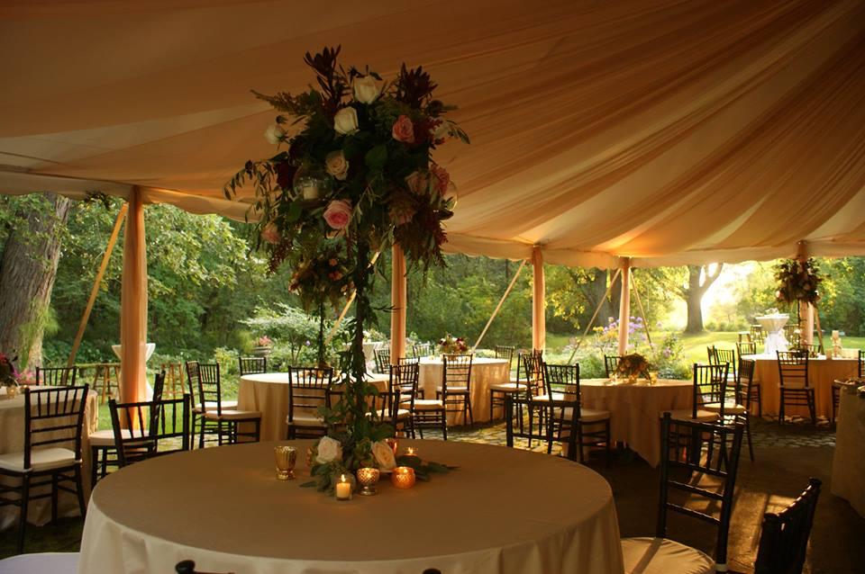 Outdoor wedding reception tent.